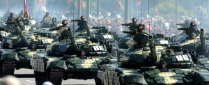 A column of Belarussian Army tanks rolls in central Minsk, on July 3, 2012, during a military parade to mark the nation's Independence Day. AFP PHOTO / VICTOR DRACHEV (Photo credit should read VICTOR DRACHEV/AFP/GettyImages)